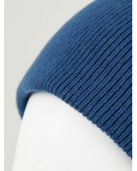 Baja East - Blue Ribbed Beanie Hat - Lyst