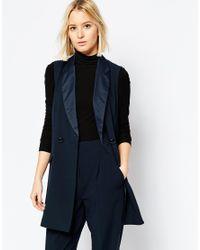 ASOS | Blue Longline Tuxedo Sleeveless Jacket - Navy | Lyst