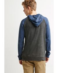Forever 21 | Blue Colorblocked Raglan Hoodie for Men | Lyst