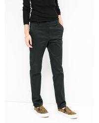 Mango - Black Poplin Cotton Trousers - Lyst