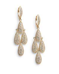 Adriana Orsini | Metallic Tiered Pavã© Teardrop Earrings | Lyst