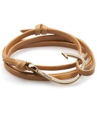 Miansai   Natural Khaki Leather Gold Hook Bracelet for Men   Lyst