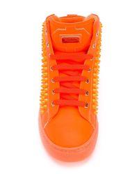Philipp Plein | Orange Studded Hi-top Sneakers for Men | Lyst