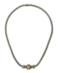 John Hardy | Metallic Three-bead Dot Chain Necklace | Lyst