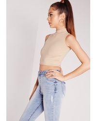 Missguided Gray Ribbed High Neck Crop Top Taupe