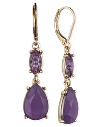 Nine West | Metallic Gold Tone Crystal And Bead Double Drop Earrings | Lyst
