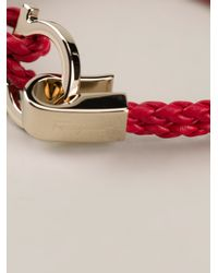 Ferragamo - Red Woven Gancio Bracelet - Lyst