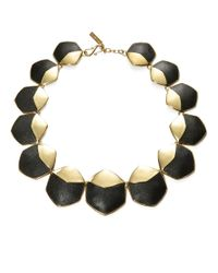 Rachel Zoe Metallic Graduated Hexagonal And Leather Accented Collar Necklace