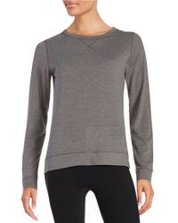 Calvin Klein | Gray Long Sleeve Knit Top | Lyst