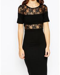 French Connection | Black Lace Panel Bodycon Midi Dress | Lyst