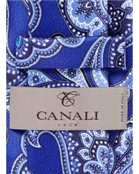Canali - Blue Paisley Print Silk Tie for Men - Lyst