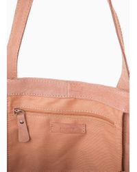 Mango Natural Suede Shopper Bag