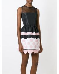 RED Valentino - Black Scalloped Hem Sleeveless Dress - Lyst