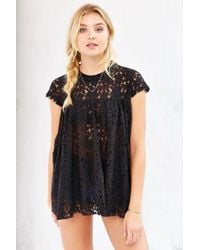 Kimchi Blue - Black Lace Babydoll Top - Lyst