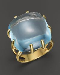 Roberto Coin | 18k Yellow Gold Ipanema Oval Blue Topaz Ring | Lyst