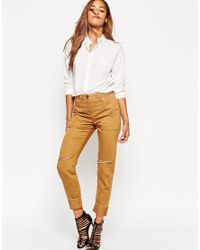ASOS | Natural Cargo Skinny Trousers | Lyst