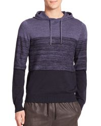 VINCE | Blue Striped Cotton & Cashmere Blend Hoodie for Men | Lyst