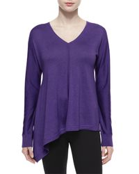 Magaschoni - Blue Dolman-sleeve V-neck Tunic Sweater - Lyst