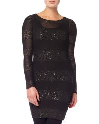 Phase Eight Black Abril Stripe Sequin Panel Dress