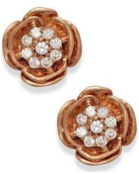 Macy's | Pink Diamond (1/10 Ct. T.w.) Rose Stud Earrings In 10k Rose Gold | Lyst