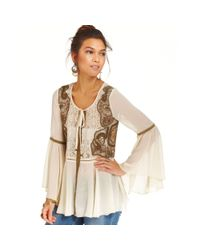 Free People - Natural Beaded Lace Top - Lyst