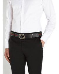 Gucci Green Black Striped Canvas And Leather Belt for men