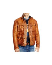 Pink Pony Brown Polo Southbury Leather Bike Jacket for men
