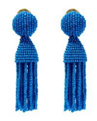 Oscar de la Renta Blue Short Beaded Tassel Clip-on Earrings