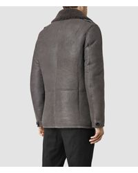 AllSaints | Gray Wythe Shearling Pea Coat for Men | Lyst