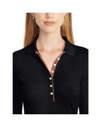 Ralph Lauren | Black Faux-suede-trim Polo Shirt | Lyst
