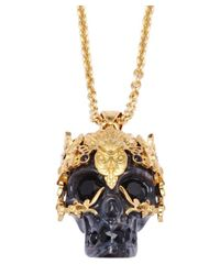Alexander McQueen | Black Silver Leaf Skull Pendant Necklace | Lyst