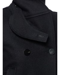Helmut Lang Blue Raw Cut Wool Melton Peacoat