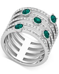 Swarovski - Green Silver-tone Crystal Pavé Ring - Lyst