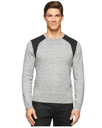 Calvin Klein | Gray Heather & Ponte Crew-neck Pullover for Men | Lyst