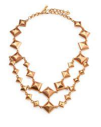 Oscar de la Renta | Metallic Doublestrand Pyramid Stud Necklace | Lyst
