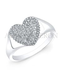 Anne Sisteron | Metallic 14Kt White Gold Diamond Rachel Heart Ring | Lyst