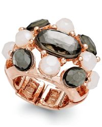 INC International Concepts | Pink Rose Gold-tone Faceted Stone Stretch Cocktail Ring | Lyst