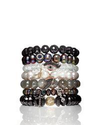 Sydney Evan | White 8mm Faceted Clear Quartz Bead Bracelet With Starburst Charm | Lyst