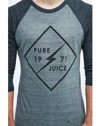 Lightning Bolt Gray Pure Juice Tri-blend Raglan Tee In Grey for men