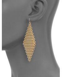 ABS By Allen Schwartz - Metallic Chain Mesh Drop Earrings - Lyst