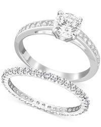 Swarovski | Metallic Silver-tone Crystal Ring Set | Lyst