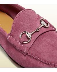 Gucci Pink Suede Horsebit Loafer
