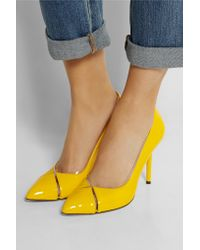 Charlotte Olympia Blue Natalie Pvc-trimmed Patent-leather Pumps