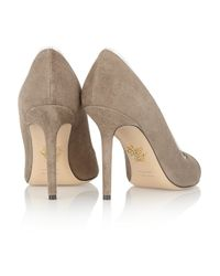 Charlotte Olympia Brown Natalie Pvc-Trimmed Suede Pumps