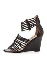Aquazzura | Venus Woven Strappy Wedge Sandal Black | Lyst