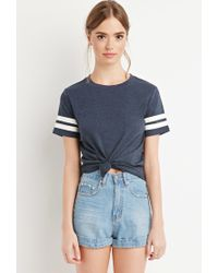 Forever 21 | Blue Varsity-striped Tee | Lyst