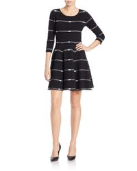 Lord & Taylor Black Striped Knit Fit And Flare Dress