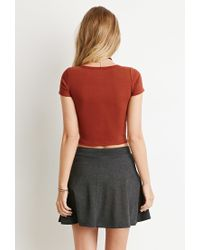 Forever 21 | Brown Button-front Crop Top | Lyst