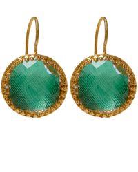 Larkspur & Hawk - Green Gold Olivia Button Topaz Earrings - Lyst