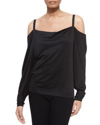 Donna Karan | Black Long-sleeve Cold-shoulder Blouse | Lyst